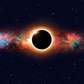 imaginary solar eclipse deep space multicolor background