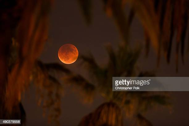 An eclipsed supermoon is shown on September 27 2015 in Los Angeles California A supermoon occurs when a full moon coincides with its perigee which is...