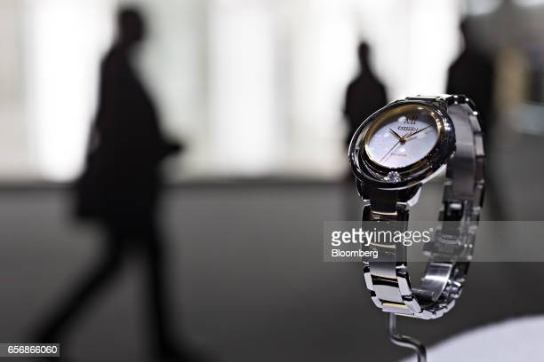 An ecodrive model wristwatch produced by Citizen Watch Co Ltd stands on display during the 2017 Baselworld luxury watch and jewelry fair in Basel...