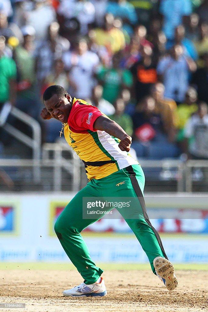 An ecstatic Chris Barnwell during the Sixteenth Match of the Cricket Caribbean Premier League between Jamaica Tallawahs v Guyana Amazon Warriors at Sabina Park on August 15, 2013 in Kingston, Jamaica.