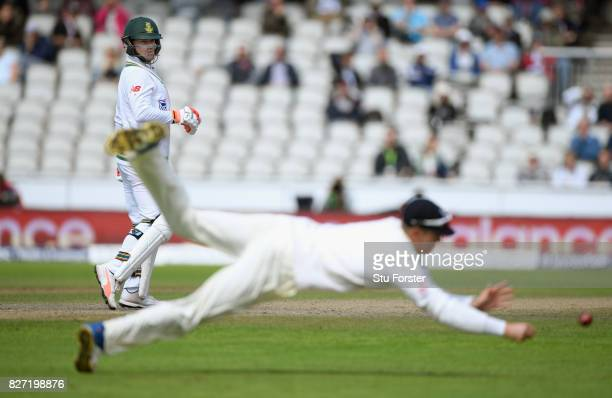 An edge from South Africa batsman Heino Kuhn goes past Keaton Jennings in the slips during day four of the 4th Investec Test match between England...
