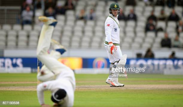 An edge from South Africa batsman Heino Kuhn goes past Keaton Jennings to the boundary during day four of the 4th Investec Test match between England...