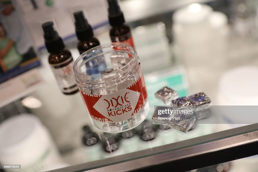 An edible marijuana infused product by Dixie is displayed at the Cannabis World Congress Conference on June 16, 2017 in New York City. Billed as 'the leading trade show and conference for the legalized cannabis, medical marijuana, and industrial hemp industries,' the 4th annual conference brings together dozens of both small and large businesses involved in the growing hemp and marijuana market.