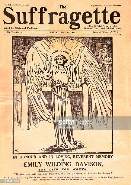 An edition of 'The Suffragette' commemorating the death of Emily Wilding Davison who died as a result of her injuries after being knocked down by the...