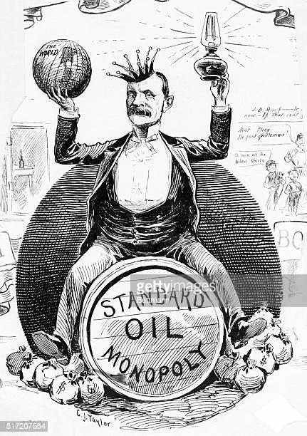 An editorial cartoon depicting Standard Oil president John D Rockefeller as the 'King of the World'