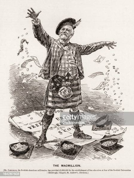 An editorial cartoon entitled 'The Macmillion' depicts Scottishborn American industrialist Andrew Carnegie as he drops money 1901 He stands on a...