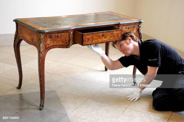An Edward Holmes Baldock desk estimated at 50007000 once owned by Lord Lucan on display at Bonhams where it will go up for auction on March 11