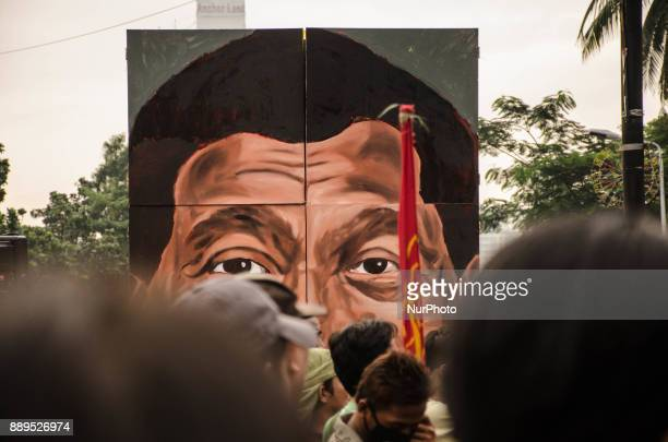 An effigy of Philippine President Rodrigo Duterte is seen during the International Human Rights Day Protest where thousands of protesters gather at...