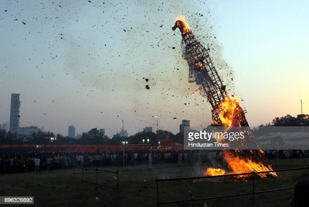 An effigy of Ravan being burnt on the occassion of Dussehra at Shivaji Park