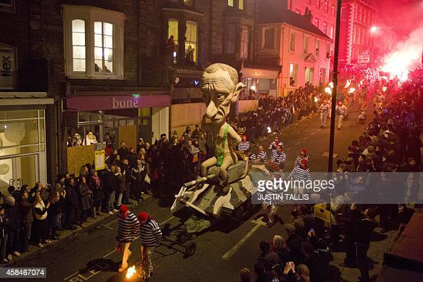 An effigy of Russian President Vladimir Putin is paraded through the streets of Lewes in Sussex on November 5 during the traditional Bonfire Night...