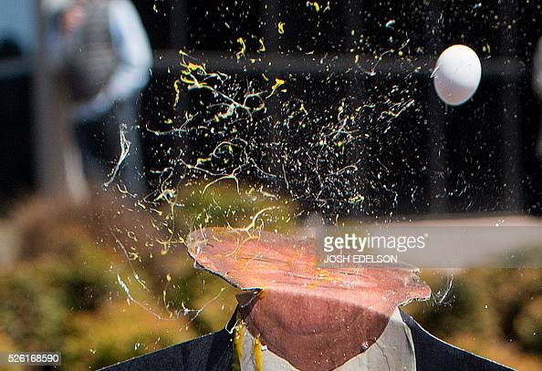 TOPSHOT An egg is thrown at a cardboard cutout of republican presidential candidate Donald Trump during a protest outside the Hyatt Regency Hotel...