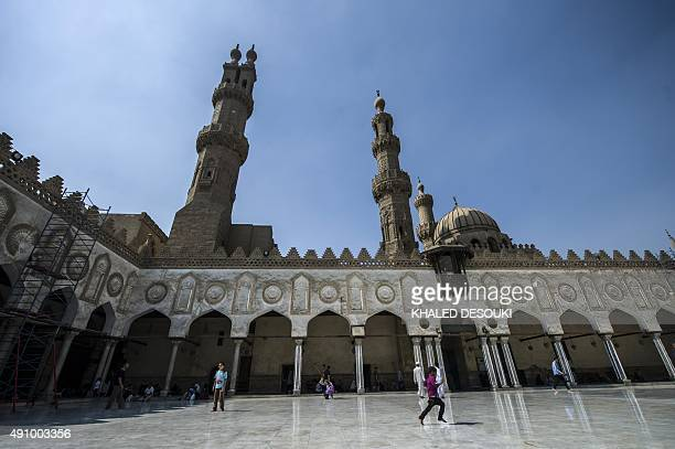 An Egyptian boy plays at alAzhar mosque following the Friday weekly prayer in the capital Cairo's Islamic quarter on October 2 2015 AFP PHOTO /...
