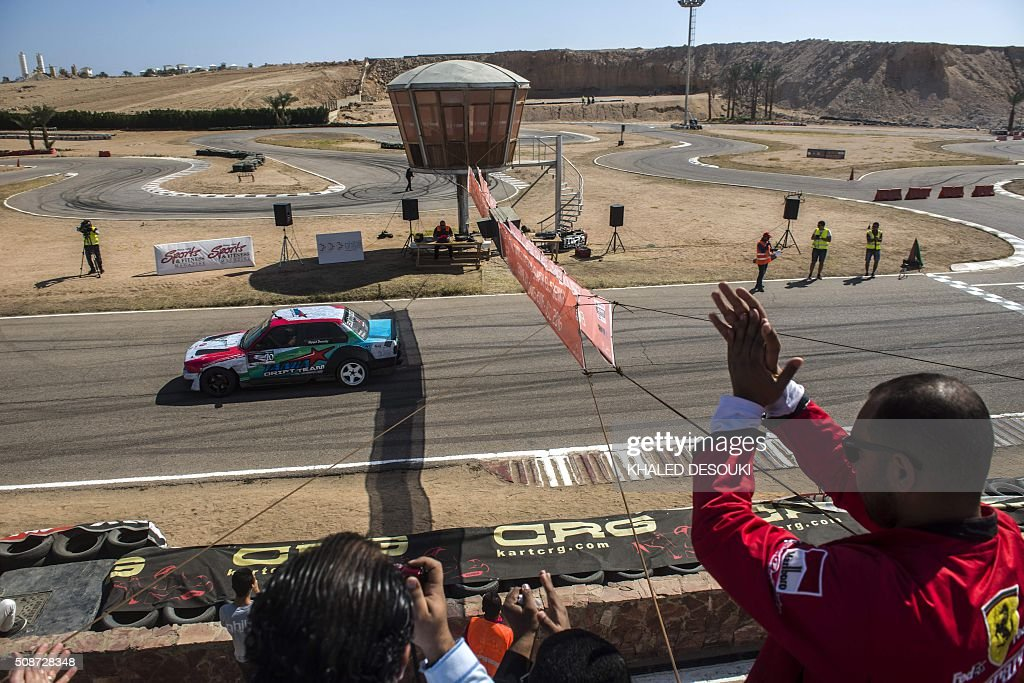 An Egyptian driver takes part in the sprints championship of Mohammed bin Zayed in the International Circuit Ghibli Raceway at the Egyptian resort of Sharm El Sheikh, on February 6, 2016. / AFP / KHALED DESOUKI