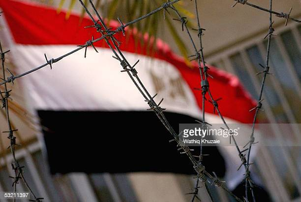 An Egyptian flag flutters at the Egyptian embassy on July 8 2005 in Baghdad Iraq The Iraqi government called on the nations of the world to keep...