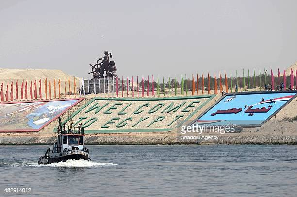 An Egyptian military boat crossing the new waterway as they patrol around at the new Suez Canal in the Egyptian port city of Ismailia east of Cairo...
