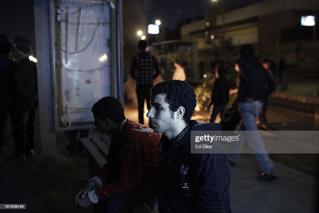 An Egyptian protester sits on a bench during during violent protests at the Presidential Palace in Heliopolis on February 8, 2013, in Cairo, Egypt. Protests continued across Egypt against President Morsi and the Muslim Brotherhood two weeks after the second anniversary of the Egyptian Revolution that overthrew former President Hosni Mubarak on January 25, 2011.(Photo by Ed Giles/Getty Images).