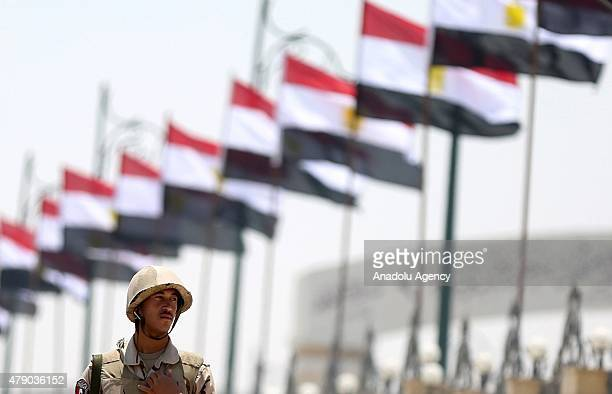 An Egyptian soldier stand guard outside the Tantawi Mosque during the funeral of Egyptian ProsecutorGeneral Hisham Barakat in Cairo Egypt on June 30...