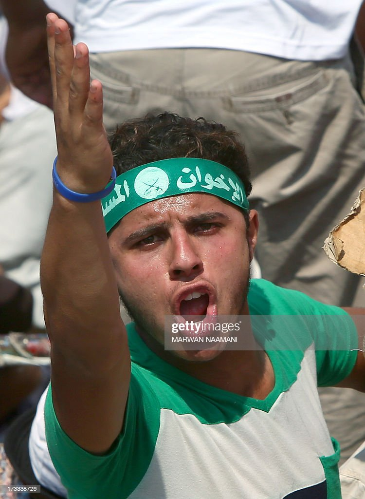An Egyptian supporter of the Muslim Brotherhood and deposed president Mohamed Morsi shouts slogans during a rally outside Cairo's Rabaa al-Adawiya mosque on July 12, 2013, following Friday noon prayer. Activists for and against ousted Morsi have called rival rallies for the first Friday of Ramadan, as tensions soar over the army's overthrow of the Islamist leader.