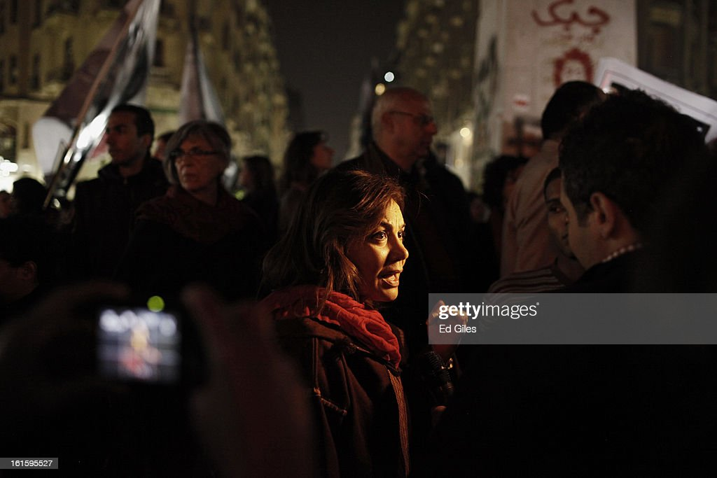 An Egyptian woman speaks with a news crew during a march against sexual harassment at Talat Harb Square, on February 12, 2013 in central Cairo, Egypt. A few hundred Egyptian men and women gathered at the Egyptian capital's Talat Harb Square on Tuesday to demonstrate against the continuing problem of sexual harassment of Egyptian and foreign women during demonstrations across Egypt. (Photo by Ed Giles/Getty Images).