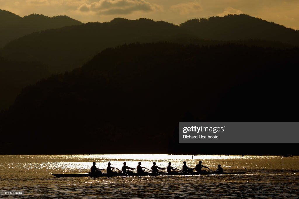 An Eight boat on a training run late in the day during day two of the FISA Rowing World Championships at Lake Bled on August 29, 2011 in Bled, Slovenia.