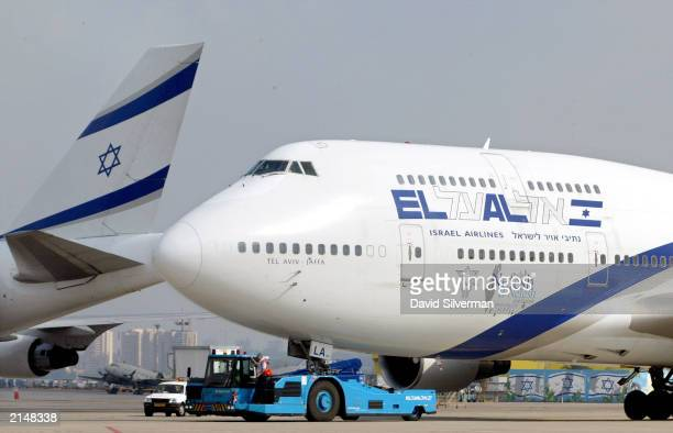 An El Al Boeing 747 passenger jet is towed to its gate after landing at Ben Gurion Airport July 9 2003 near Tel Aviv Israel The Israeli government...