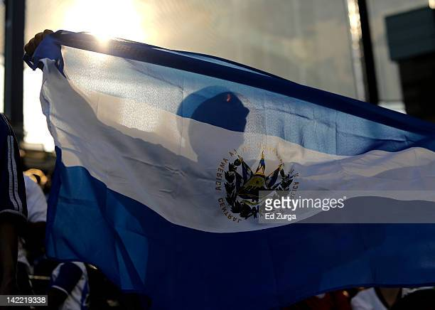 An El Salvador fan waves a flag during a game against Honduras in the first half of the 2012 CONCACAF Men's Olympic Qualifying Semifinals at...