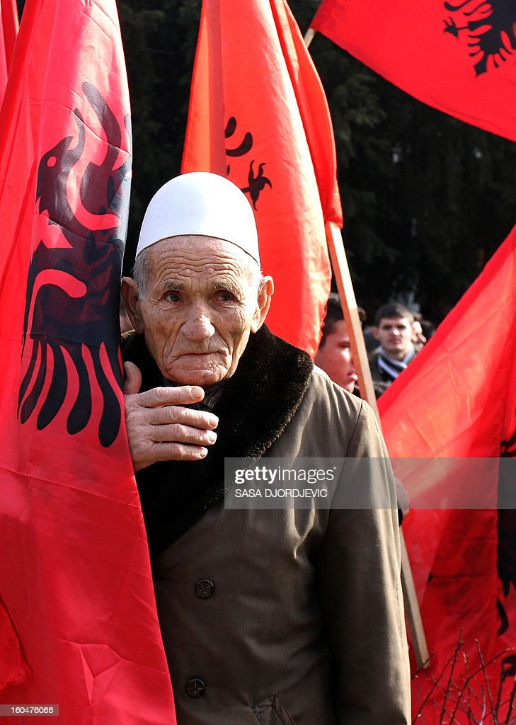 An elderly ethnic Albanian attends a protest in the southern Serbian town Bujanovac on February 1, 2013. Several thousand ethnic Albanians in the southern Serbian town of Bujanovac protested Friday, demanding Serbian authorities to remove a monument erected to Serb soldiers and policemen killed during the 2001 conflict with ethnic Albanian rebels there. Last month Serbian authorities removed a monument to ethnic Albanians killed in the conflict, set by fellow Albanians in the neighbouring Albanian-dominated town of Presevo.