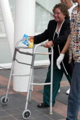 An elderly evacuee from New Orleans arrives at the George R Brown Convention Center September 3 2005 in Houston Texas