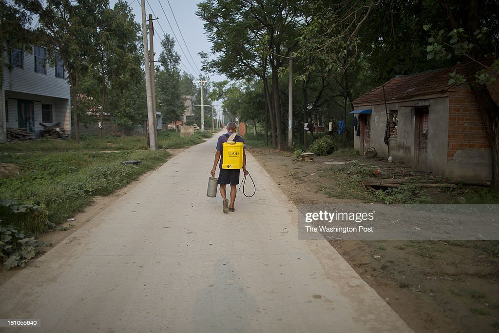 An elderly farmer returns from dusting his crops in a rural village near Fuyang, Anhui Province, China on 28 August 2013. As able-bodied adults seek work in cities in hopes of better income, more and more villages in China are inhabited mostly by the elderly and children.