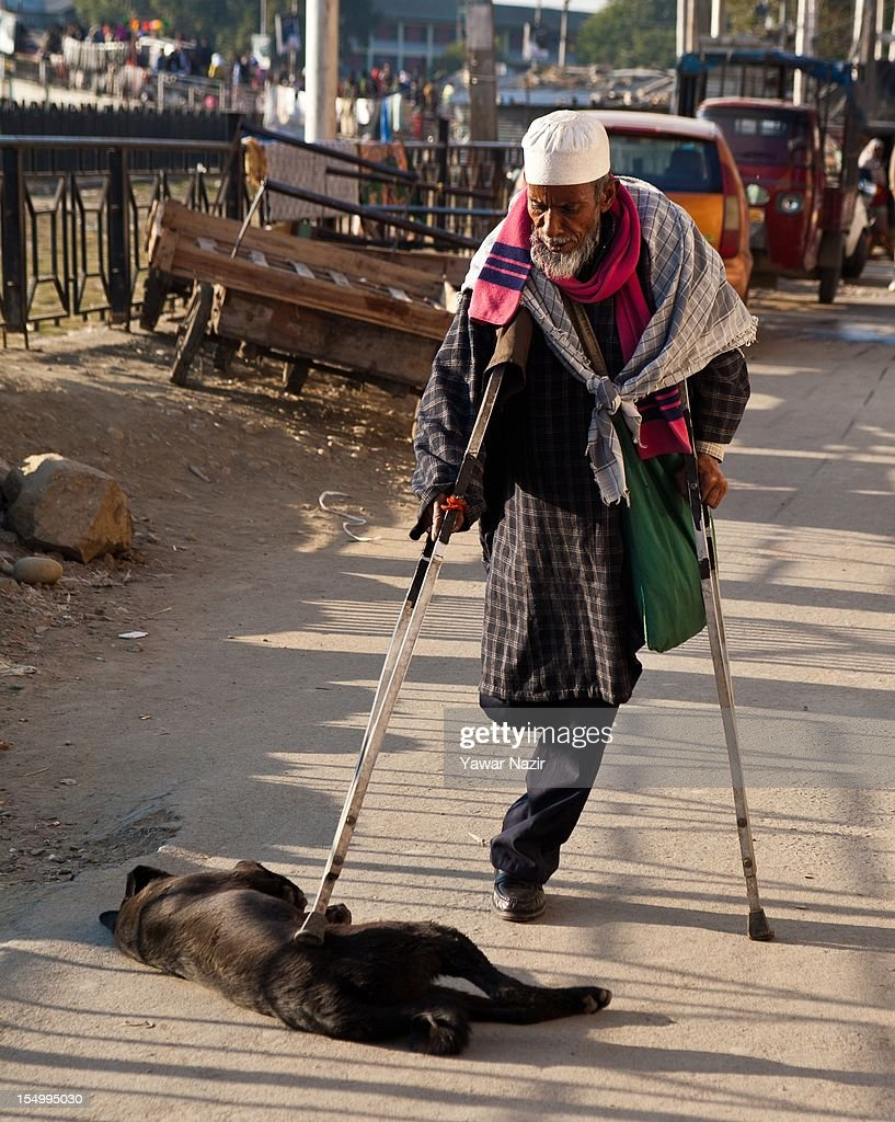 An elderly handicapped Indian Muslim beggar Noor Mohammed, aged 70, pats a stray dog with his crutch on October 30, 2012 in Srinagar, the summer capital of Indian administered Kashmir, India. Noor said that he had befreinded the stray dog over the last three weeks and had been feeding him with the proceeds of his begging.
