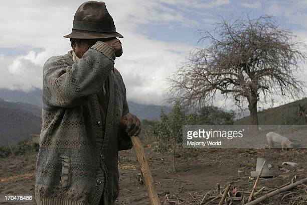An elderly man at one of the areas affected by volcanic eruption The Tungurahua an active volcano in the Cordillera Central of Ecuador erupted on...