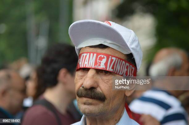 An elderly man is seen at the 'Justice March' to protest against the Turkish government held by the main opposition Republican People's Party in...