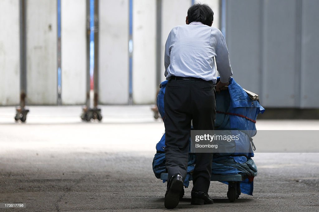 An elderly man pushes a loaded cart covered with blue tarp in a park in Tokyo, Japan, on Monday, July 8, 2013. The number of Japanese seniors living alone will rise 54 percent to 7.17 million in 2030 from 4.66 million in 2010, according to the National Institute of Population and Social Security Research, set up by the Ministry of Health, Labour and Welfare. To manage the costs stemming from the aging society, the government aims to push back the pension age to 65 from 60 in stages through 2025. Photographer: Kiyoshi Ota/Bloomberg via Getty Images