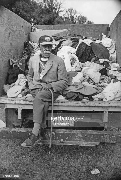 An elderly man sits in a truck with clothing which has been donated to the residents of Resurrection City a three thousand person tent city on the...