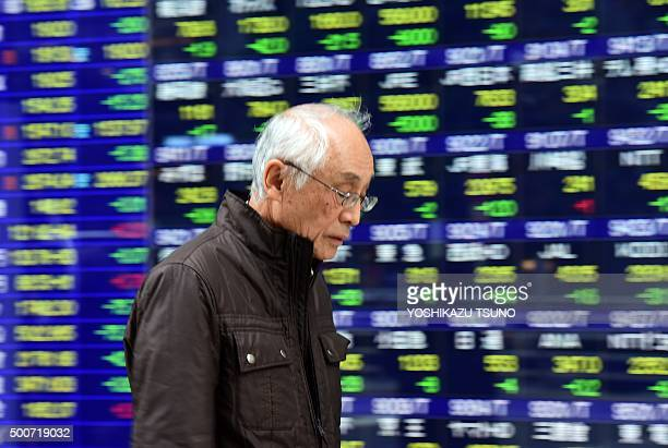 An elderly man walks past a share prices board in Tokyo on December 10 2015 Japan's share prices fell 25452 points to close at 1904655 at the Tokyo...