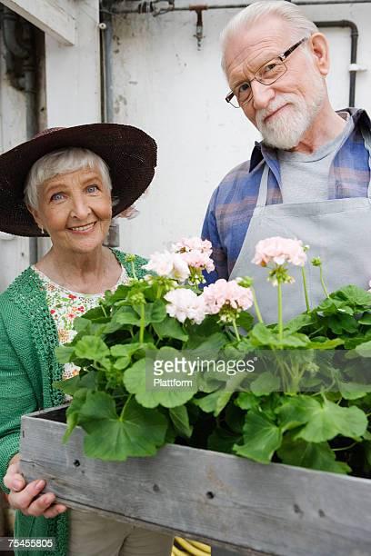 An elderly Scandinavian couple holding a flower box Sweden.