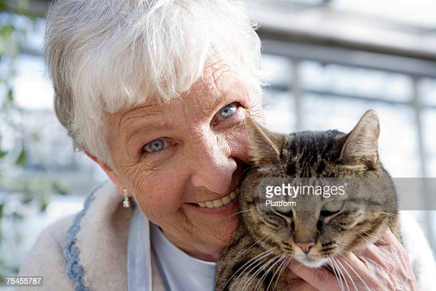 An elderly Scandinavian woman and a cat Sweden.