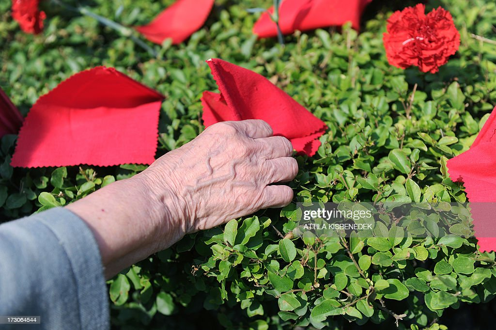 An elderly woman adjusts a red flag at the tomb of former Hungarian communist leader Janos Kadar in the Fiume Road National Graveyard in Budapest on July 6, 2013 during a commemoration of the anniversary of Kadar's death. The commemoration event was organized by the Hungarian communist party, the 'Munkaspart' (Workers' party). Kadar was General Secretary of the Hungarian Socialist Workers' Party, presiding over the country from the counterinsurgency of the Hungarian Uprising of 1956 until his retirement in 1988. Kadar died on July 6, 1989.