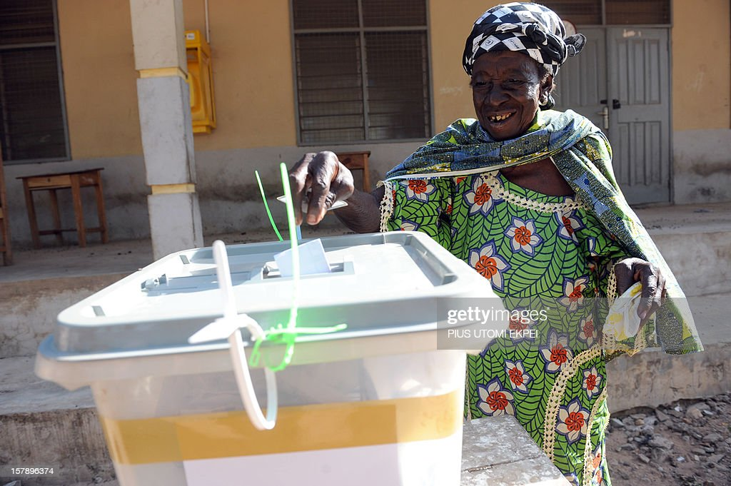 An elderly woman casts her ballot at the Bole polling station, in the Bole Bamboi constituency of northern Ghana, on December 7, 2012. Ghana voted in a high-stakes presidential election today which is expected to be close, with the emerging country seeking to live up to its promise as a beacon of democracy in turbulent West Africa.