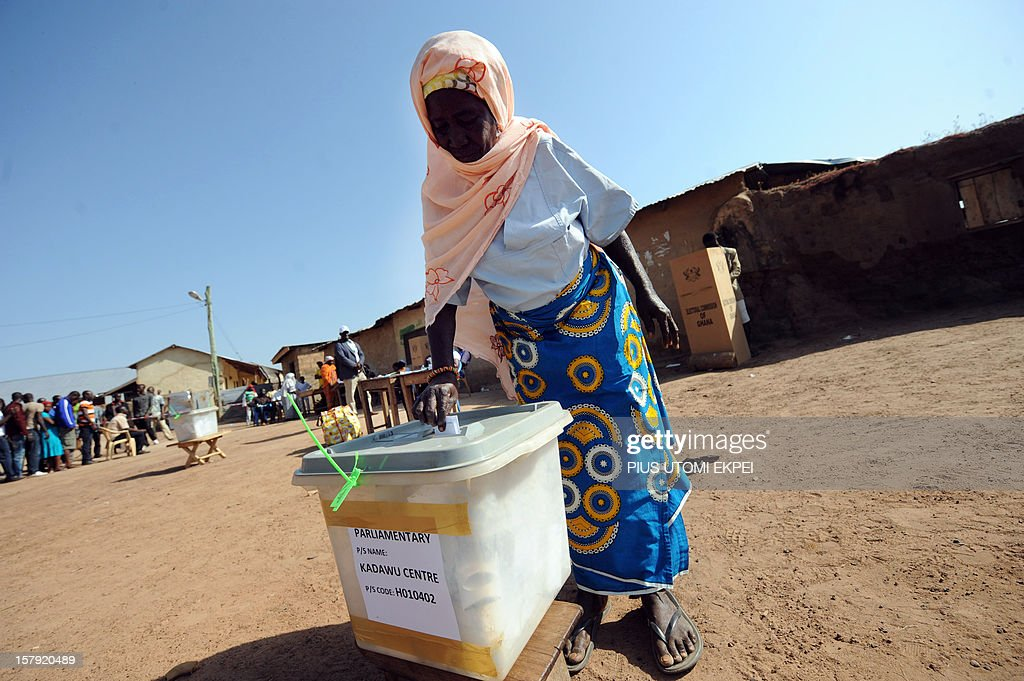 An elderly woman casts her ballot at the Bole polling station, in the Bole Bamboi constituency of northern Ghana, on December 7, 2012, during the national elections. Ghana voted in a high-stakes presidential election today which is expected to be close, with the emerging country seeking to live up to its promise as a beacon of democracy in turbulent West Africa. AFP PHOTO / PIUS UTOMI EKPEI