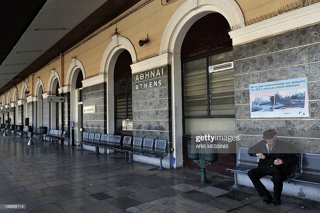An eldery man sits at the empty Athens' train station during a 24-hour general strike on May 20, 2010. Greece on May 19 averted default by tapping into a multi-billion-euro EU loan rescue as unions geared up for a new general strike and official figures showed a strong rise in government debt.
