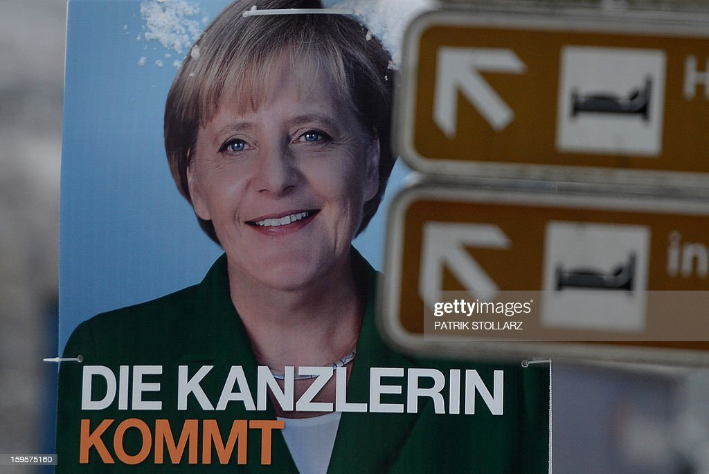 An election campaign billboard featuring German Chancellor Angela Merkel of the German Christian Democrats (CDU) is seen on January 16, 2013 in Osnabrueck, Germany. Lower Saxony is holding state elections on January 20, 2013 and many analysts see the election as a bellwether for national elections scheduled to take place later this year.