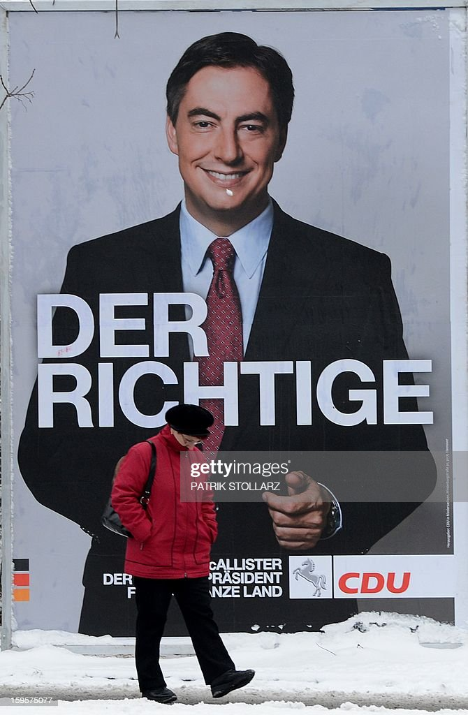 An election campaign billboard featuring Lower Saxony Governor and incumbent candidate of the German Christian Democrats (CDU) David McAllister is seen on January 16, 2013 in Osnabrueck, Germany. Lower Saxony is holding state elections on January 20, 2013 and many analysts see the election as a bellwether for national elections scheduled to take place later this year.