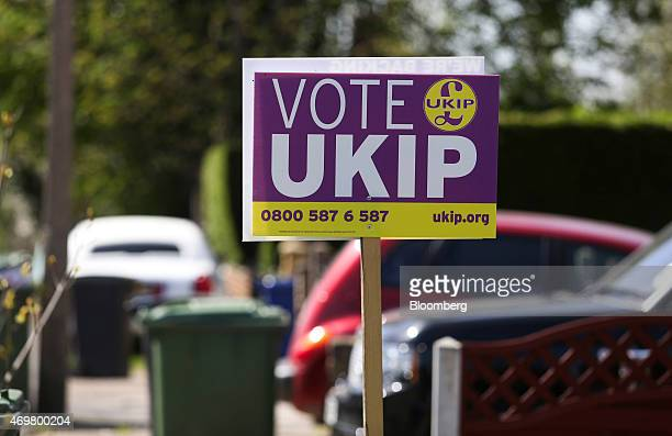 An election campaign poster for the UK Independence Party is seen outside a residential property in Thurrock UK on Wednesday April 15 2015 The UK's...