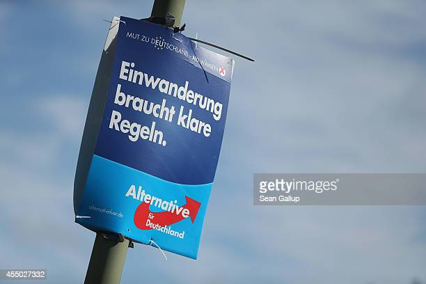 An election campaign poster of the AfD political party that reads 'Immigration Requires Clear Rules' hangs from a lamppost ahead of upcoming...