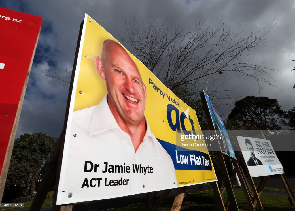 An election hoarding featuring Act leaderJamie Whyte in Epsom on July 30, 2014 in Auckland, New Zealand. New Zealand voters will head to the polls on September 20, 2014.