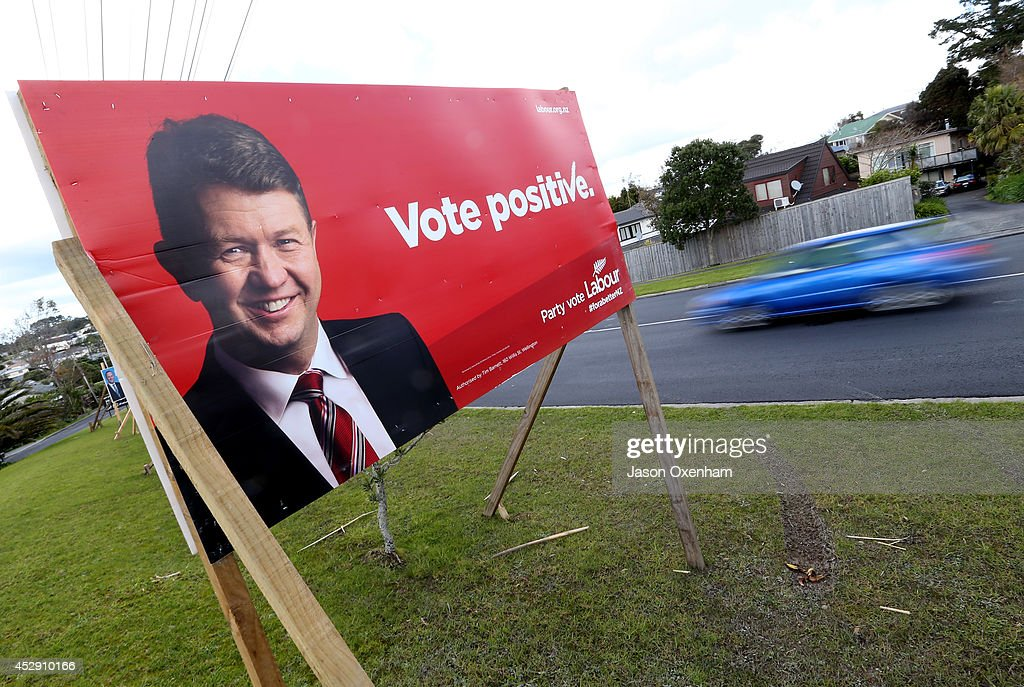 An election hoarding featuring the Labour leader David Cunliffe in Mairangi Bay on July 30, 2014 in Auckland, New Zealand. New Zealand voters will head to the polls on September 20, 2014.