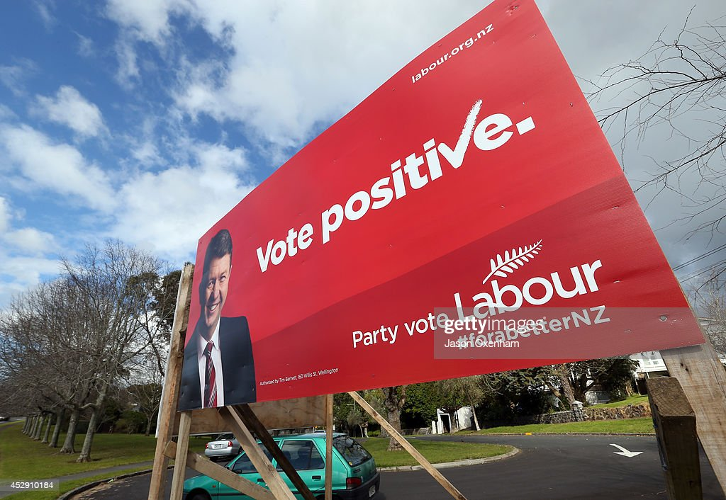 An election hoarding featuring the Labour leader David Cunliffe in Epsom on July 30, 2014 in Auckland, New Zealand. New Zealand voters will head to the polls on September 20, 2014.