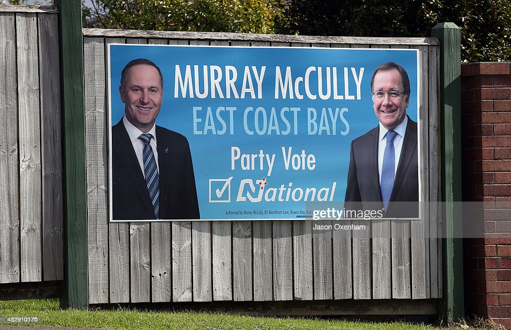 An election hoarding featuring the National leader John Key (L) and candidate Murray McCully in Mairangi Bay on July 30, 2014 in Auckland, New Zealand. New Zealand voters will head to the polls on September 20, 2014.