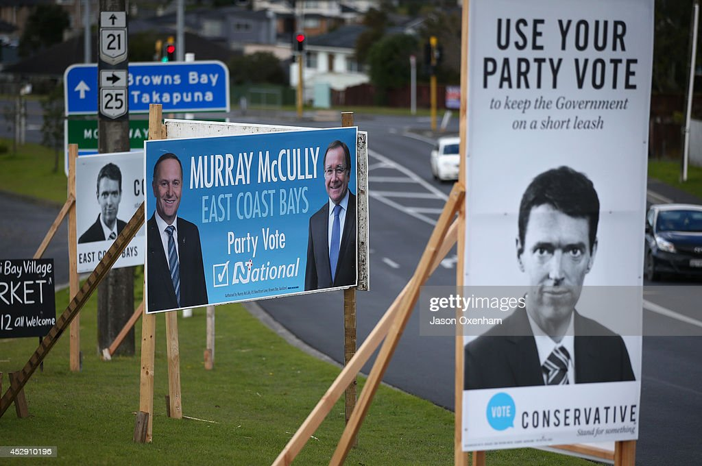 An election hoarding featuring the National leader John Key (L) and candidate Murray McCully next to a hoarding with Conservative leader Colin Craig in Mairangi Bay on July 30, 2014 in Auckland, New Zealand. New Zealand voters will head to the polls on September 20, 2014.